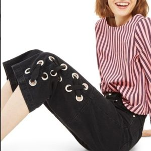 Topshop NWT women's lace up hem crop jeans US 12
